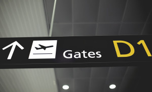 Airport sign. Gate D